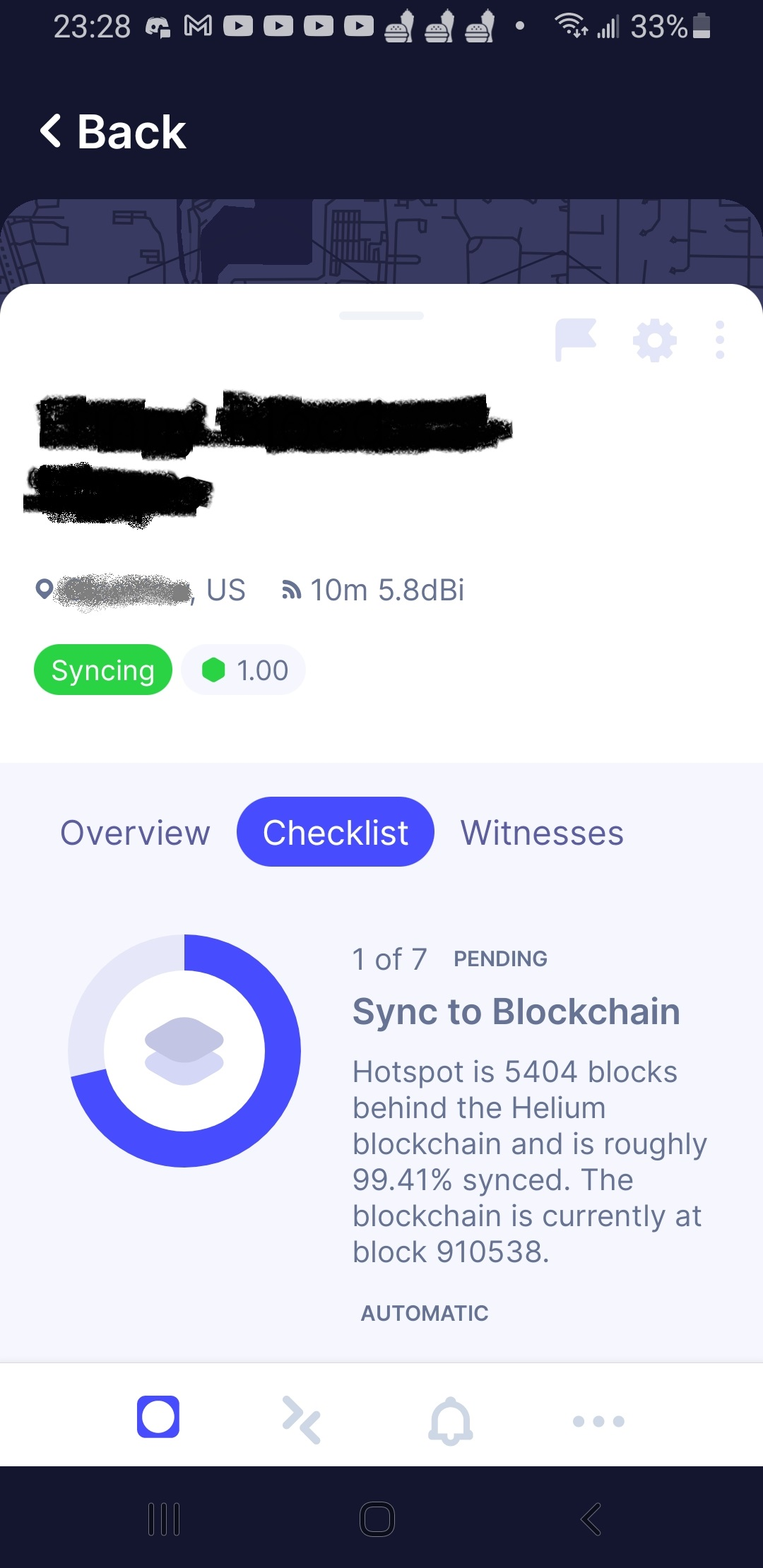 Hotspot is 5403 blocks behind the Helium blockchain and is roughly 99.41% synced. The blockchain is currently at block 910538