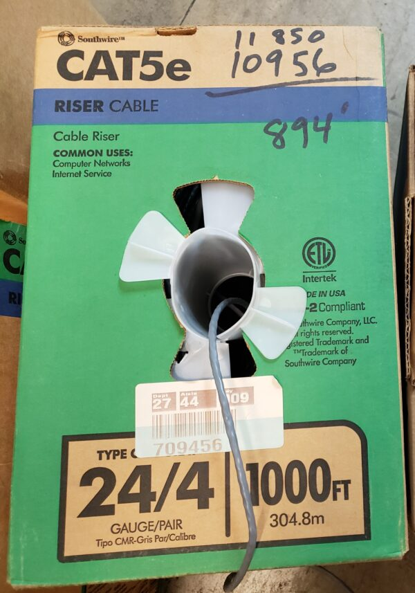 Cat5E cable 6 incomplete boxes total 2448 ft